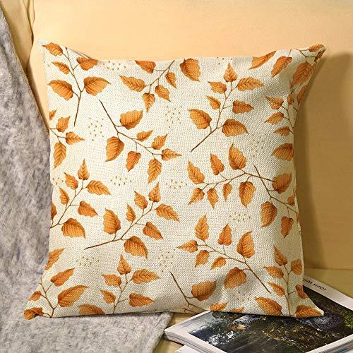 Fundas de almohada de lino decorativas para el hogar, 45,72 x 45,72 cm, cojín cuadrado de mimbre, color naranja