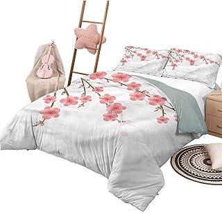 Funda nórdica con diseño de Colcha Floral tamaño King, para Todas Las Estaciones, Ilustraciones de Flores de Cerezo