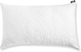 Cok Shredded Memory Foam Pillow, Adjustable Loft Bed Pillows for Home & Hotel, Washable Removable Cooling Bamboo Derived Rayon Cover (1 Pack, King), White