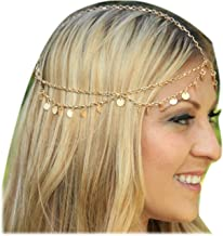 Zealmer Girls Metal Head Chain Jewelry Chain Headbands Headpiece Jewelry Hair Band Tassels with Sequins