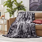 Hansleep Faux Fur Blanket with Reversible Sherpa, Super Soft Fuzzy Throw Blanket for Sofa Couch Bed, Light Weight Warm Blanket All Season Use (Gray, King 90x108)