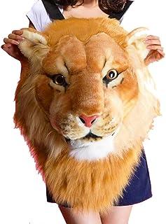 Plush 3D Tiger Lion Head Backpack Student Funny Travel Bag,Lion