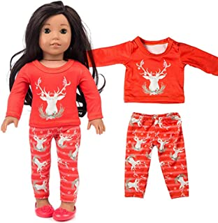 Sponsored Ad - Doll Clothes and Accessories Chirstmas Clothes Pants and Shirt Printed with Chritmas Reindeer Pattern for 1...