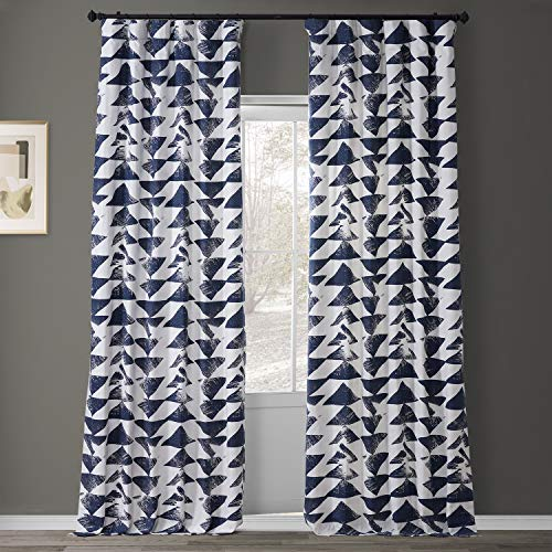 HPD Half Price Drapes PRTW-D35C-108 Printed Cotton Twill Curtain (1 Panel), 50 X 108, Triad Indigo