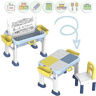 deAO Escritorio Didáctico Infantil Portátil Centro de Actividades 3en1 Mesita Multiusos para el Aprendizaje y Creatividad Infantil Incluye Silla, Pizarra Blanca y Panel para Juegos de Construcción