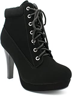 Polish Military Lace Up Platform Chunky High Heel Ankle Booties