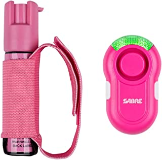 SABRE RED Pink Pepper Gel Spray for Runners with Pink Clip-on Personal Alarm – Max Police Strength Gel OC Spray w/Adjustable Strap, 35 Bursts, 12-Foot (4M) Range, 120dB Alarm w/LED Light for Safety