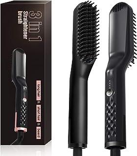 Cepillo alisador eléctrico para barba/pelo 2.0, peine para alisar de cabello, herramientas calientes de estilo rápido, moldeador rápido con antiquemaduras para hombres y mujeres (negro)
