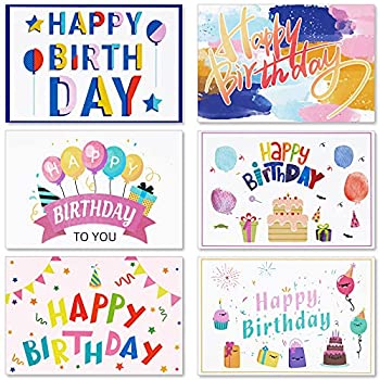 24 Pcs Happy Birthday Cards Greeting Cards Birthday with Stickers and Envelopes Assortment - 4 X 6 inch Birthday Cards for Kids Men Women Mom
