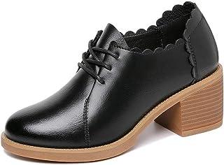 [DOUERY LTD] レディース ラウンドトゥ 24.5cm 太めヒール レースアップ パンプス 24.5cm イギリス風 歩きやすい 痛くない 疲れない 履きやすい ムートン 柔らか素材 軽量 上品 ファッション オシャレ 黒色