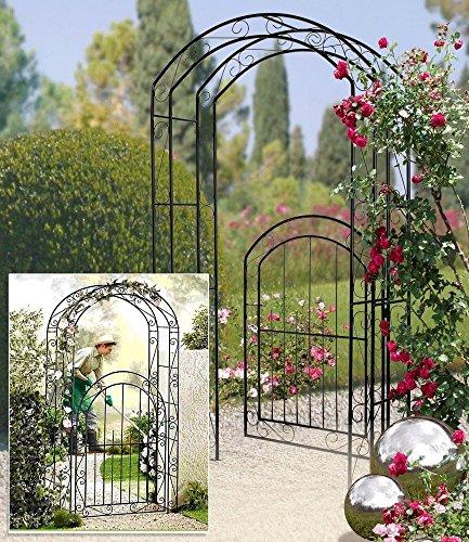 Gartentür mit Rankhilfe, Gartenprotal mit Rosenbogen
