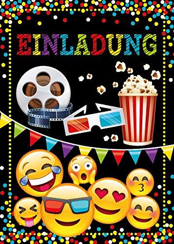 12 Einladungskarten Geburtstag Kinder Kino für Mädchen Jungen Jungs Einladungen Kindergeburtstag Geburtstagseinladungen Kartenset Party
