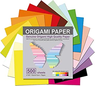 Origami Paper 500 Sheets, 20 Vivid Colours, Double Sided Colours Make Colourful and Easy Origami,15cm Square Sheet, for Ki...
