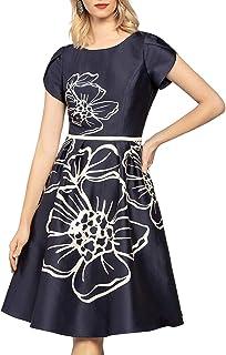APART Fashion Short Printed Satin Dress Vestito Elegante Donna