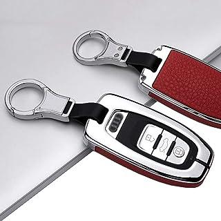 ontto 1 Stück Autoschlüssel Hülle Abdeckung Schlüssel Tasche für Audi A4 A5 A6 A7 Q5 Q7 Q8 RS SQ TTRS Metall Zink Legierung & Leder Schlüsselschutz Keyless mit Schlüsselbund 3 Tasten Silver Rot