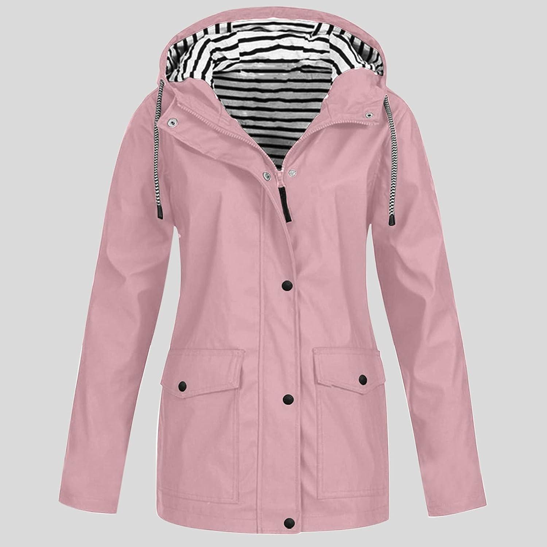 Women's Trench, Rain & Anoraks,Womens Rain Jackets Waterproof Lightweight Windproof Adjustable Windbreaker Rain Coat