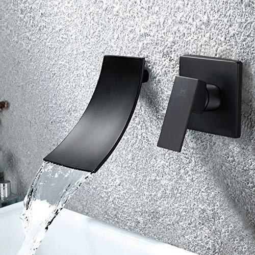 HAOXIN Unterputz Waschtischarmatur Schwarz Wandarmatur Bad Wasserfall Wasserhahn Bad Wandmontage Einzelgriff Unterputz Armatur Messing