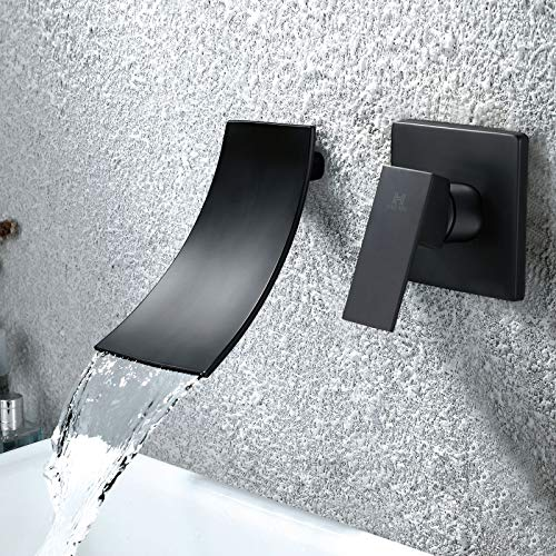 Grifo Cascada Lavabo Pared Mezcladora de Grifo Bañera Sola Manija Agua Caliente y Fria Grifo Baño Moderno Negro HAOXIN