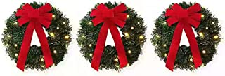18-Inch Pre-Lite Battery-Operated Wreaths Set of 3