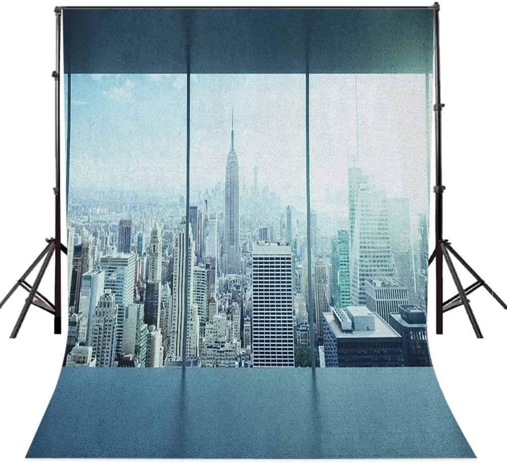 8x12 FT New York Vinyl Photography Backdrop,Aerial View of A Big Crowded Modern City from The Office New York Buildings Urban Background for Baby Birthday Party Wedding Studio Props Photography