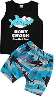 Baby Boy Short Sets Toddler Baby Boys Shark Doo Doo Print Sleeveless Tops+Shorts Outfits Set
