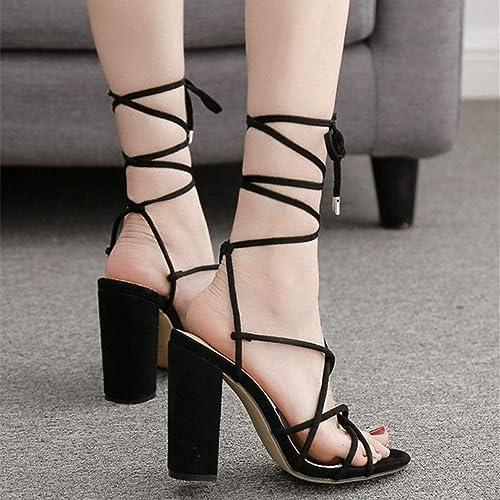 LiXiZhong Chaussures Romaines, Chaussons, Chaussures De Mariage, Chaussures De Soirée, Chaussures De Discothèque, Escarpins (Couleur   noir, Taille   37)