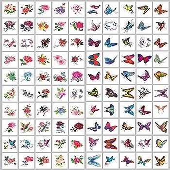 ELANE 100 Sheets Temporary Tattoo Stickers Body Art Makeup Fake Tattoo (50 Butterfly+50 Flowers) Removable Body Sticker,Hand Neck Wrist Art Fashion。