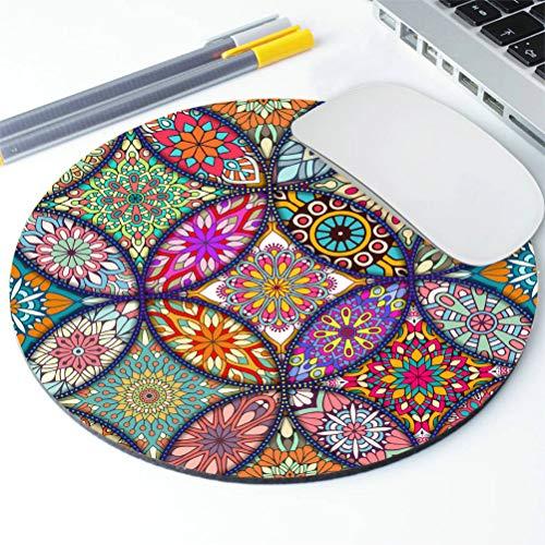 Amcove Vintage Decorative Elements Mouse Pad,Round Mandala Mouse Mat, Cute Mouse Pad with Design, Non-Slip Rubber Mousepad, Office Mouse Pad,Mandala Colour Photo #5