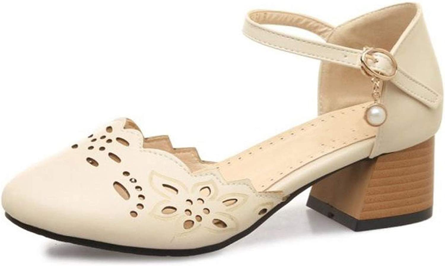 April With You Size 32-46 Women Round Toe Sandals Cut Out Summer shoes Woman Fashion Square Heels Sandalias