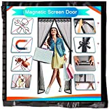 Redfire Mosquitera Ventana Magnetica 155x265cm, Parada Automática Mosquitera con Imán Regalo Tamaño Completo para Puerta De la Bodega Negro