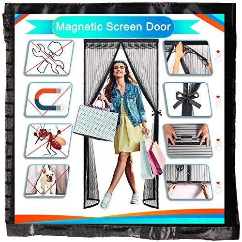 Redfire Puerta de Mosquitera Mosquitera Magnética 75x210cm, De Cierre Automático Cortina Mosquitera Magnética Durable Diferentes tamaños para Puerta De la Cochera Negro