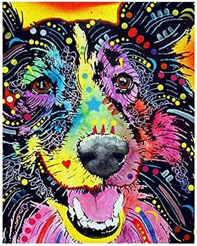 QIAISHI Abstrakte Hund malerei by Zahlen Moderne Tier DIY Digitale Katze wandkunst Bild für wohnkultur AFFE Pferd  em e