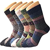 YSense 5 Pairs Womens Winter Warm Socks Thick Knit Wool Cozy Crew Socks Gifts