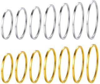 PROSTEEL 7-28Pcs Rings Set, 1mm Stainless Steel Rings, Men's Women's Plain Band Knuckle Stacking Midi Rings Comfort Fit, S...