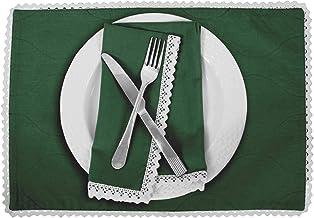 Vargottam Dark Green Home Décor Cotton Flex Reversible Fabric White Lace Placemats Table Dining Mats-Set of 8
