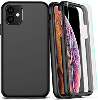 COOLQO Compatible for iPhone 11 Case, 360 Full Body Coverage Hard PC+Soft Silicone TPU 3in1 Shockproof Matte Phone Cover Certified Military Protective with [2 x Tempered Glass Screen Protector]-Black