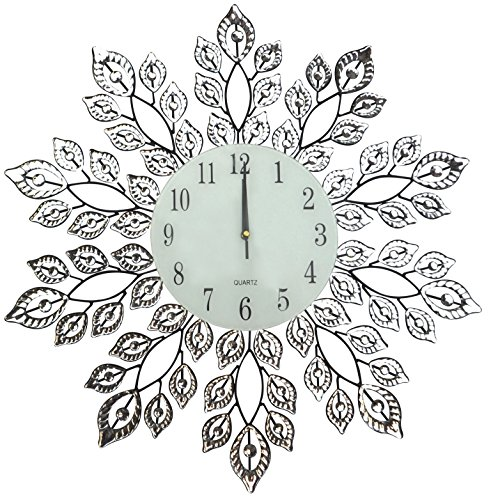 LuLu Decor Decorative Leaf Extra Large Wall Clock