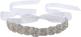 Lux Accessories White Ivory Beaded Applique Satin Tie Fashion Headband