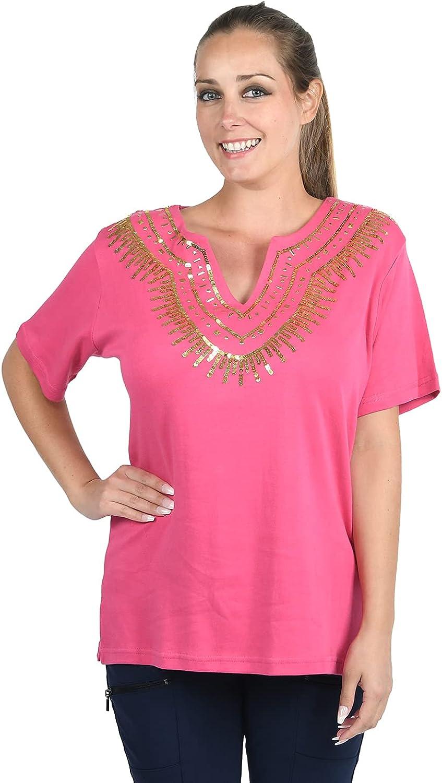 Shop Low price LC Jovie Hot Pink T-Shirt Embellished Sale Comfortabl Breathable