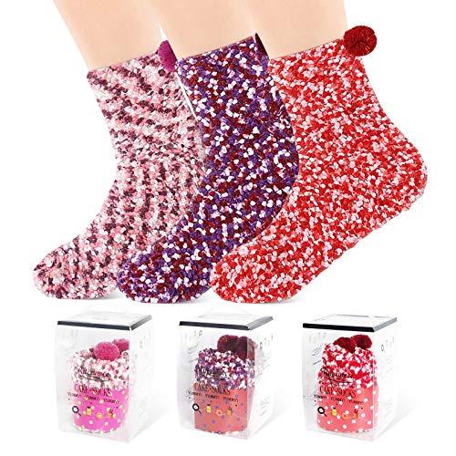 Weihnachtsgeschenke für Frauen, Lustige Socken Kuschelsocken Geschenke für Frauen Geschenke für Mama Lustige Geschenke Kuschelsocken Damen 3 Pairs