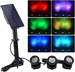 WisHomee Underwater Solar Pond Lights Outdoor, 3 in 1 RGB LED Submersible Fountain Lights, Dusk to Dawn Landscape Spotlight for Garden, Patio, Tree, Yard(Color Change + Stay on)