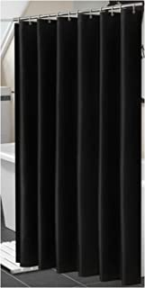 Polyester Fabric Shower Curtain with 12 pcs Hooks Waterproof Plastic Bath Screens Solid Color Eco-Friendly Bathroom Curtains,Black,W150xH200cm