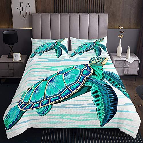 Meeresschildkröte Tagesdecke 240x260cm Ozeanblaue Schildkröte Steppdecke für Kinder Jungen Mädchen Blaugrünes Reptil Weichste Bettwäsche Set Tagesdecke Bettbezug 3St