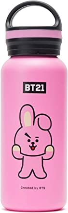 BT21 Official Merchandise by Line Friends - Cooky Vacuum Drinking Tumbler Cup with Lid 16 oz,  Pink