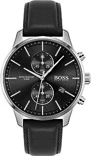 Hugo Boss Men's Black Dial Black Leather Watch - 1513803