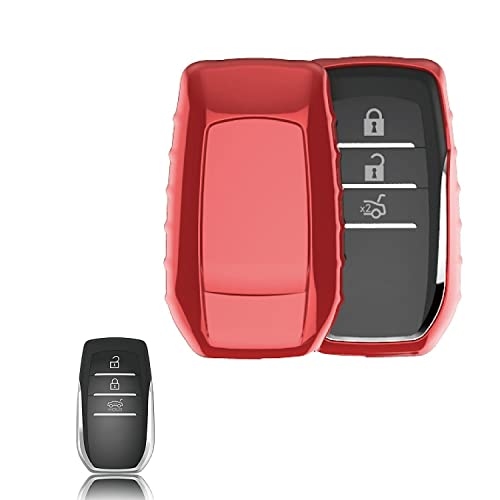 JVCV Car Styling Soft TPU Car Key Cover Fit for Toyota Smart Key (Red)