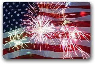 FAMILYDECOR Independence Day 4th of July Fabric Door Mat Rug Indoor/Outdoor/Front Door/Shower Bathroom Doormat,18-Inch by ...