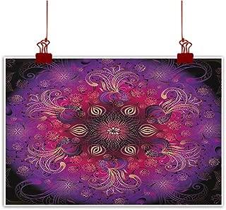 Sunset glow Art Poster Print Purple Mandala,Bohemian Stylized Vintage Flower and Anatolian Turkish Featured Pattern, White Magenta for Living Room Bedroom