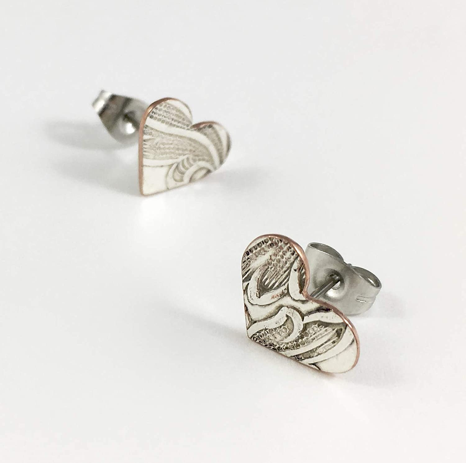 Silver and Copper Heart NEW El Paso Mall Earrings