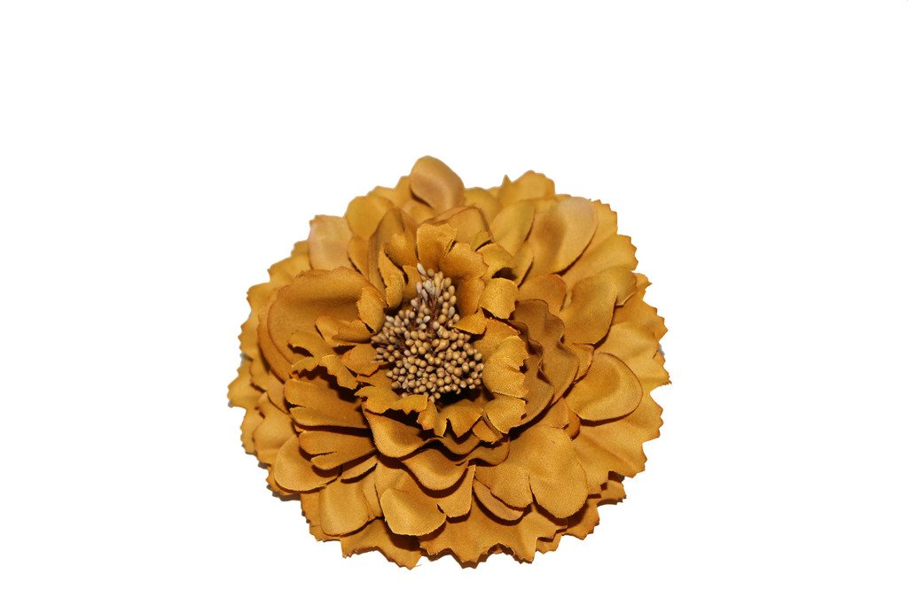 HH Building Women's Girls Bohemian Artificial Peony Flower Hair Clips Wedding Accessories HairClip Brooch Pin Barrettes Corsage (Gold)